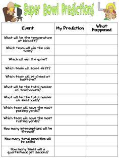 Super Bowl Predictions for your class. - Super Bowl Predictions for your class. - Super Bowl Predictions for your class. – Super Bowl Predictions for your class. Football Party Games, Football Football, Football Season, College Football, Super Bowl Activities, Super Bowl Party Games, Super Bowl Predictions, Healthy Superbowl Snacks, Party Stuff
