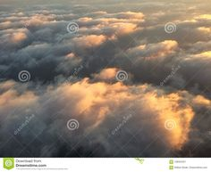 Photo about An aerial from above the clouds of a sky filled with puffy clouds lit and glowing by the morning sun. Image of clouds, morning, above - 109454221 Cloud Lights, Above The Clouds, Morning Sun, Sunrise, Sky, Image, Heaven, Heavens, Sunrises