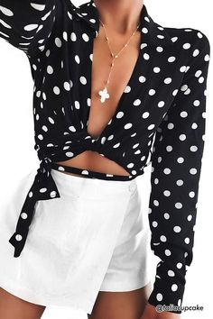FOREVER 21 Polka Dot Wrap Top: http://shopstyle.it/l/yBVo