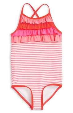 She'll frolic at the beach in comfort and style wearing this stretchy one-piece swimsuit featuring a cute stripe print, colorful ruffle detailing and crisscrossed straps at the back.