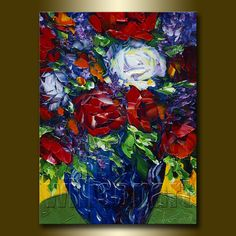 Floral Canvas Modern Flower Oil Painting Roses by willsonart, $115.00