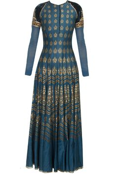 Navy and gold embroidered digital print anarkali set available only at Pernia's Pop Up Shop.