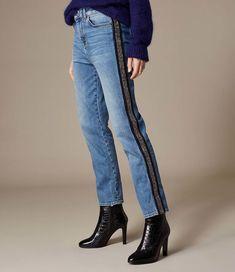 2029372d753de7 Beaded Skinny Denim Blue High Rise Jeans. Women Casual Daytime Street Club  Daily Summer Day