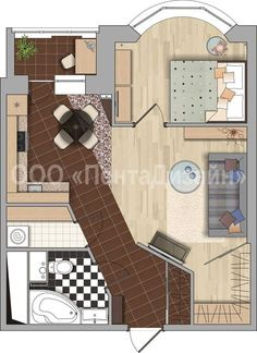 Apartment Plans, One Bedroom Apartment, Small House Plans, House Floor Plans, Plan Chalet, Room Planning, Sims House, Stone Houses, Architecture Plan