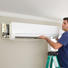 For the garage.an easy-install way to provide cooling (and heating come winter) without ducts—and no window units! Garage Remodel, Attic Remodel, Ranch Remodel, New Orleans, Mini Split Ac, Do It Yourself Furniture, Window Unit, Attic Rooms, Attic Bathroom