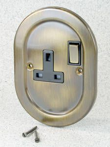 Empire Range Antique Brass 1 Gang Switched Socket With Black Insert  Brilliant for the vintage home at a brilliant price!