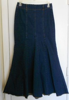 Y Jeans Size 6 Denim Blue Jean Skirt Flare Mermaid Style Long Stretch Dark Wash