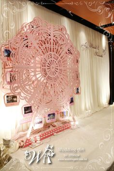 Ferris wheel with photos on stage back drop - gorgeous! From Wedding Art Decoration in HK