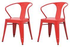 Red Metropolis Armchairs, Pair on OneKingsLane.com