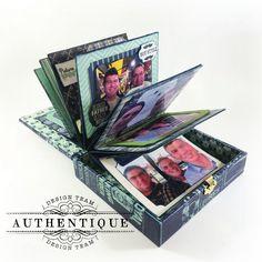 """A """"Suave"""" Album in a Cigar Box Cigar Box Diy, Cigar Box Crafts, Mini Albums, Mini Scrapbook Albums, Pocket Scrapbooking, Scrapbook Paper, Altered Boxes, Altered Art, Cigar Box Projects"""