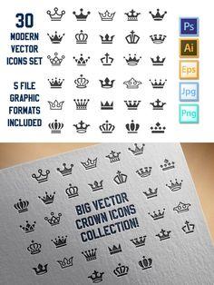 Vector Crown Icons Big Set