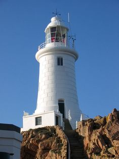 La Corbiere lighthouse on south-western point of Jersey in St. Brelade.