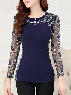 Round Neck Rhinestone Beading Lace Floral Blouse Fashion girls, party dresses long dress for short Women, casual summer outfit ideas, party dresses Fashion Trends, Latest Fashion # Net Blouses, Shirt Blouses, Lace Blouses, Blouse Styles, Blouse Designs, Drake Clothing, Women's Clothing, Look Fashion, Fashion Outfits
