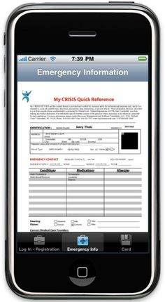 MyCrisisRecords aims to revolutionize emergency care through an mHealth app that is a PHR (personal health record) data exchange system.     This allows first responders to send a patient's health records to the Emergency Room even before the patient arrives. This enhances the quality of care offered to patients and minimizes potential errors.     Other benefits for MRC members are cards with scannable QR codes and automated, immediate texts to loved ones during a patient's crisis.    Ended.