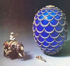 """The """"pine cone"""" jewelled and guilloche enamel Easter egg, made by Fabergé and containing a silver and enamel automaton elephant. Photo: Christie's."""