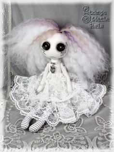 ☾☾ Crafty ☾☾ Autumn ☾☾ Gothic ghost art doll with button eyes (small) - Olwyn Silversky