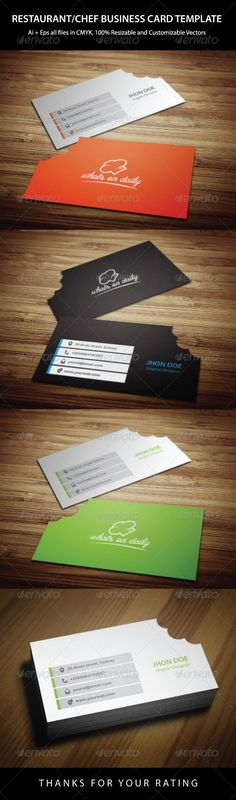 Restaurant Business Card Template  #GraphicRive