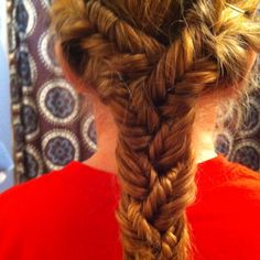 Put your hair in three sections then fish tail each section then braid all the fish tail braids together
