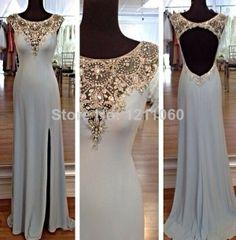 Real Picture Evening Dresses 2014 Elegant Sheath Floor-length Long Open Back Prom Dress Beaded Evening Dress vestidos de fiesta