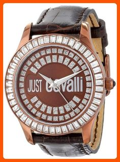 Just Cavalli Women's Gold Ion-Plated Coated Stainless Steel Brown Genuine Leather Swarovski Crystal Watch - All about women (*Amazon Partner-Link)