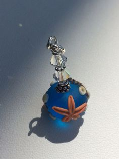 Handmade Lampwork Glass Jewelry Beaded Pendant for necklace - Blue Waters etched sea ocean  on Etsy, $18.00