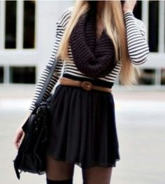 Beautiful, feminine autumn outfit. <3 I basically have this outfit in reverse with a striped skirt and black top.