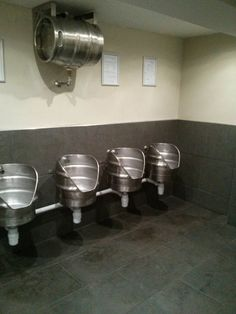 These urinals made out of leftover beer kegs: 27 Urinals That Will Help You Forget How Awkward Peeing Is Man Cave Bathroom, Bathroom Humor, Wc Public, Industrial Toilets, Design Bar Restaurant, Barris, Container Bar, Pub Design, Beer Keg