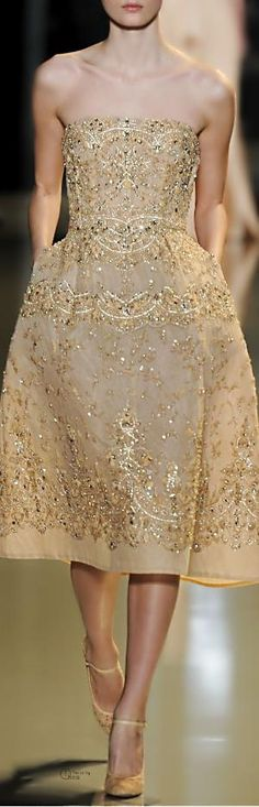 Saab Spring 2013 I Absolutely Love This Gold, Ornate Elie Saab Couture Dress.I Absolutely Love This Gold, Ornate Elie Saab Couture Dress. Elie Saab Couture, Dior Haute Couture, Style Couture, Couture Fashion, Runway Fashion, Fashion Show, Net Fashion, Paris Fashion, Girl Fashion