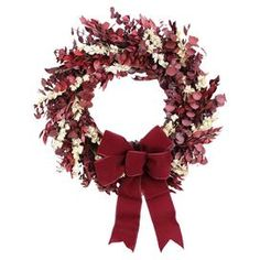 """Preserved myrtle, eucalyptus, and larkspur wreath with a burgundy ribbon accent and natural twig base.  Product: WreathConstruction Material: Natural materials and siliconeColor: BurgundyDimensions: 18"""" Diameter x 5"""" DCleaning and Care: Avoid sunlight and humidity. Wipe gently with dry cloth."""
