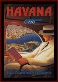 Havana - Vintage Poster - Cross Stitch Collectibles fine art cross stitch pattern