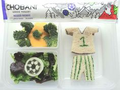 With a soccer uniform jam sandwich, and plenty of greens on the side, this lunch scores a goal for both moms and kids! Throw in delicious and nutritious Chobani Greek Yogurt Mixed Berry Tubes for the win! Created by BrainPowerBoy.com, sponsored by Chobani.