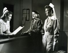 Taken sometime around 1948 at Lancaster General Hospital, this photo features one of our nurses and a Red Cross volunteer, who is assisting a patient with discharge from the hospital.