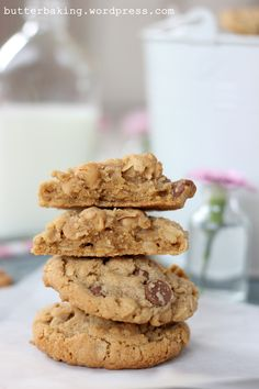 peanut butter oatmeal chocolate chip cookies by butter baking. Lots of good baking recipes.
