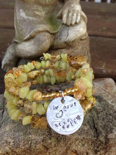 Be Your True Self three wrap memory wire beaded by DFInspirations, $30.00