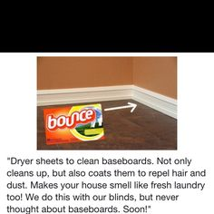 I think I would use a more natural dryer sheet like Mrs Meyers though but still a great idea! Cleaning Recipes, House Cleaning Tips, Deep Cleaning, Spring Cleaning, Cleaning Hacks, Cleaning Supplies, Cleaning Blinds, Baseboard Cleaning, Household Cleaners
