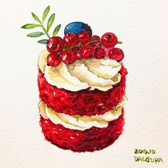 Cake with currants Cake Drawing, Food Drawing, Desserts Drawing, Dessert Illustration, Sweet Drawings, Food Sketch, Watercolor Food, Food Painting, Fake Food