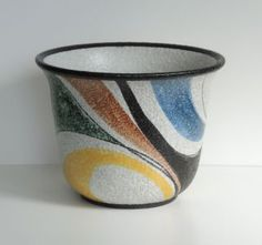 Ruscha Keramik übertopf Cachepot 232/3 Dekor Milano 50er Jahre Blumentopf 50s Bild