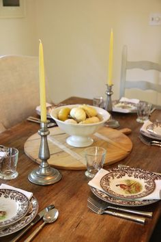 Jenny Steffens Hobick: Creams & Brown Fall Table Setting | Spode Woodland Dishes with Creamy Candles