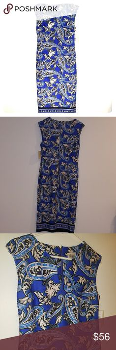 Beige by ECI Blue Paisley Scuba Dress Size 6 women's beige by ECI dress, NWT, never worn ECI Dresses Midi