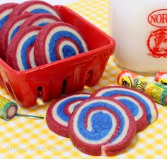 Red, White and Blue Pinwheel Cookies