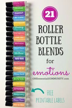 LOVE this!! amazing find! there are tons of great roller bottle blends {and FREE super cute labels} for all kinds of emotions-- calm, focus, grounding, balance, gratitude, happy, energy, comfort, motivation, courage, confidence, cheer, creativity, and more!! #essentialoils #essentialoilrecipes #rollerbottlerecipes #essentialoilDIY #rollerbottleblends #naturalremedies #anxiety #uplifting #fatigue #focus #stress #easyDIY