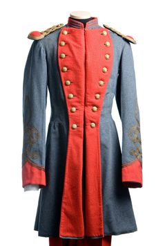 Marion Artillery uniform, c. 1875, worn by Andrew Burnet Rhett (Charleston, 1831-1879) who fought with the Marion Artillery in the Civil War. Click for images of full uniform, including shako. Charleston Museum.
