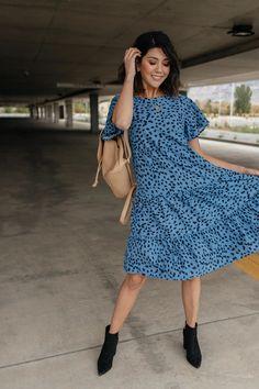 Fall Fancy Tiered Dress In Blue Dawn