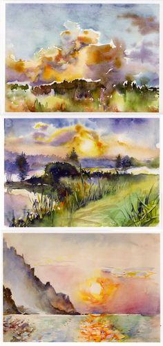 Trois cartes postales imprimées avec aquarelles couchers de soleil. Imprimé sur papier semi-glacé de qualité IMPORTANT : partie arrière est blanc.