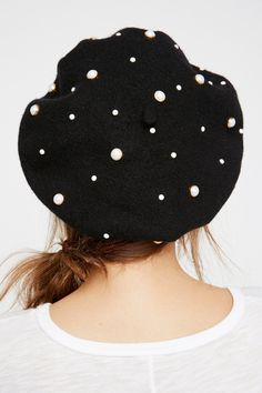 The Last Dance Embellished Beret | American made classic wool beret embellished with different sized faux pearl accents.