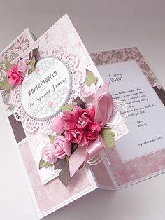scrapki mbabki: Na Urodziny dla Synowej Handmade Birthday Cards, Happy Birthday Cards, Greeting Cards Handmade, Wedding Cards, Wedding Anniversary Cards, Step Cards, Fancy Fold Cards, Beautiful Handmade Cards, Mothers Day Cards