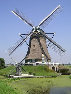 Aarlanderveen Netherlands Windmill with baby windmill