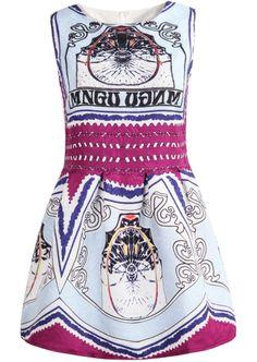 Purple Sleeveless Vintage Letters Print Dress - Sheinside.com