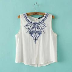 Summer Style 2017 Fashion women elegant embroidery white black crop blouses shirt vintage sleeveless casual Brand tops Plus Size Geometric Embroidery, White Embroidery, T-shirt Broderie, Diy Vetement, Fashion Outfits, Womens Fashion, Style Fashion, Fashion Clothes, Ladies Fashion