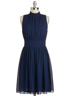 Windy City Dress - Blue, Solid, Pleats, Party, Sleeveless, A-line, Best Seller, Variation, Mid-length
